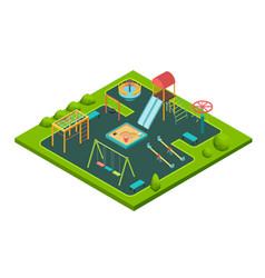 isometric kids summer playground with childrens vector image