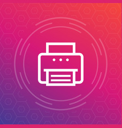printer icon in linear style vector image