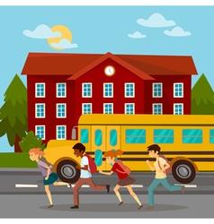 School Building Scholars Running to School vector image
