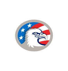 Bald Eagle Head USA Flag Oval Retro vector image
