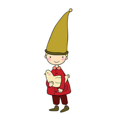 cute little gnome and bird vector image vector image