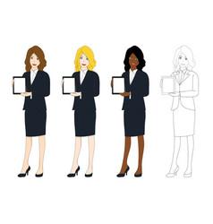 business woman presentation tablet vector image