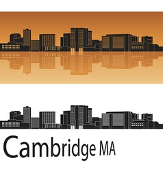 Cambridge skyline in orange vector image