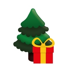 Pine tree of Merry Christmas design vector image vector image