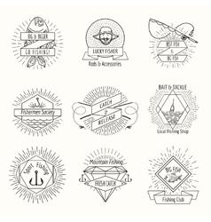 Retro fishing logo or labels set vector image vector image