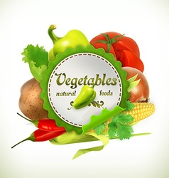Vegetables label vector image vector image