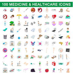 100 medicine and healthcare icons set vector