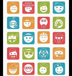 20 smiles icons set profession color square vector image