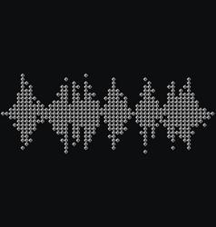 3d silver music wave logo audio monochrome mosaic vector