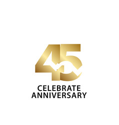 45 years anniversary celebrate gold template vector