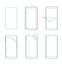 apply screen protector smartphones and tables vector image