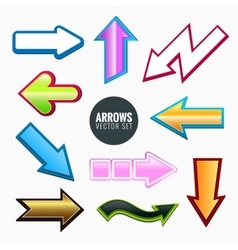 Arrows set colorful different styles vector image