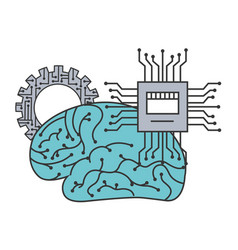 artificial intelligence brain motherboard circuit vector image