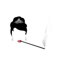 audrey hepburn portrait shop logo fashion woman vector image