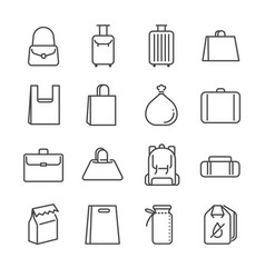 Bag line icon set vector