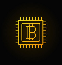 Bitcoin in microprocessor golden linear icon vector