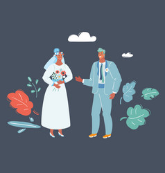 Bride and groom at wedding vector