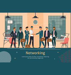 Business teams networking flat poster vector