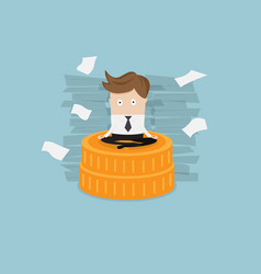 Businessman sitting on coins stack vector