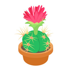 Cactus with red flower icon cartoon style vector