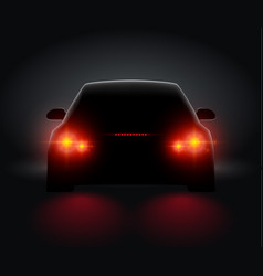 Car back view night light rear led realistic view vector