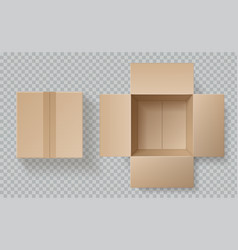 Cardboard box top view open closed boxes inside vector