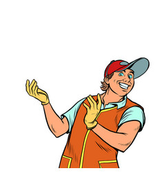 cartoon character pizza delivery guy cartoon vector image