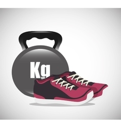 cartoon dumbbell sneakers fitness elements design vector image