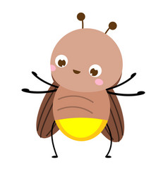 Cartoon firefly cute glowworm insect character vector