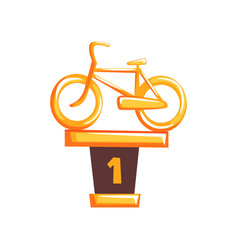 Cartoon golden trophy with bicycle on brown base vector