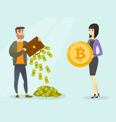 caucasian man in need of bitcoins to make payment vector image