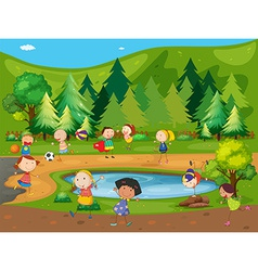 Children and park vector image