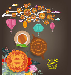 Chinese moon cake and green tea for new year 2019 vector