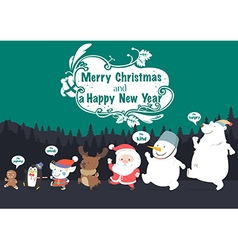 Christmas character and New Year greeting card vector image