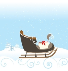 Christmas Retro Sled Gift Snow Snowflake Surprise vector image