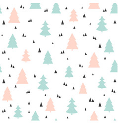 christmas trees seamless pattern childish vector image