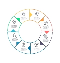 Circular chart diagram with 8 steps options vector