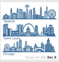 Cities usa - seattle saint louis chicago vector