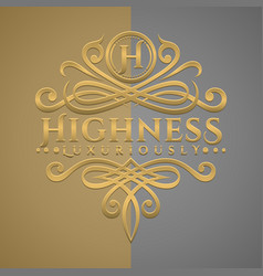 Classic luxurious letter h logo with embossed vector