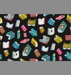 Colored open books seamless pattern design vector
