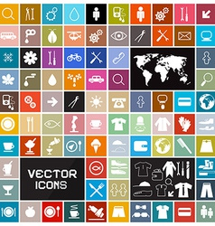 Colorful Square Flat Icons Set vector image