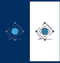 Complex global internet net web flat color icon vector