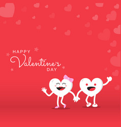 couple heart cute cartoon character for happy vector image