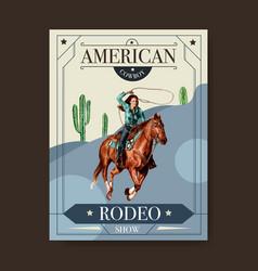 Cowboy poster design with woman horse cactus vector