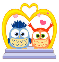 cute baby owl in love wedding poster heart arc vector image
