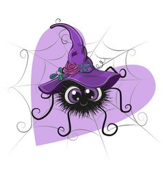 Cute cartoon spider with witch hat vector