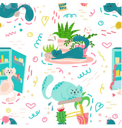 cute seamless pattern with house plants cats vector image