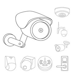 Design of cctv and camera sign collection vector