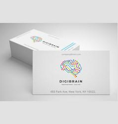 Digital brain logo vector
