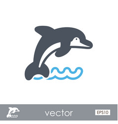 dolphin outline icon summer vacation vector image